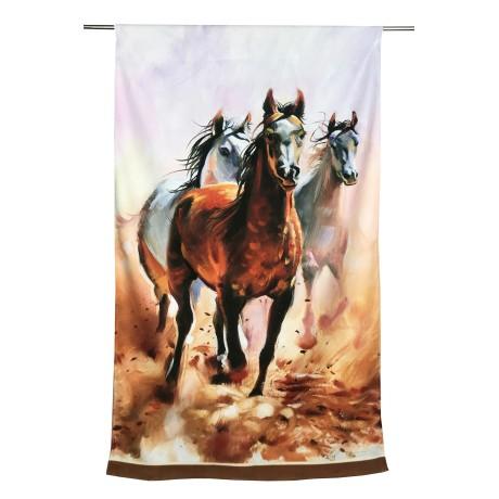 Serviette éponge peinture chevaux Grande taille 90 x 170 cm