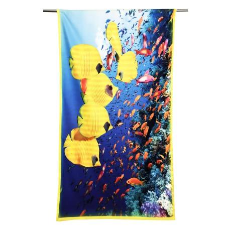 Serviette de plage poisson jaune tropical, grande taille 90 x 170 cm.
