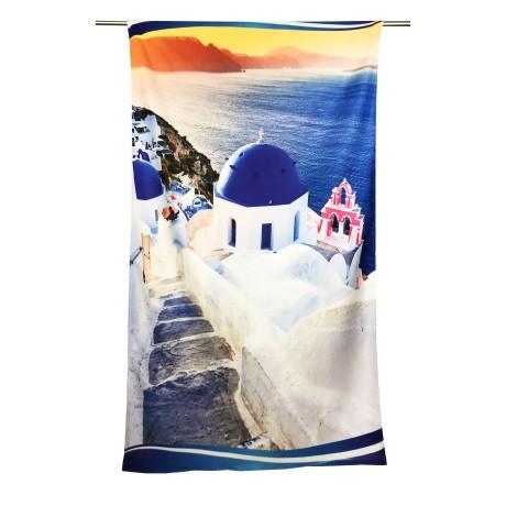 Serviette de plage Santorini Grèce Grande taille 90 x 170 cm