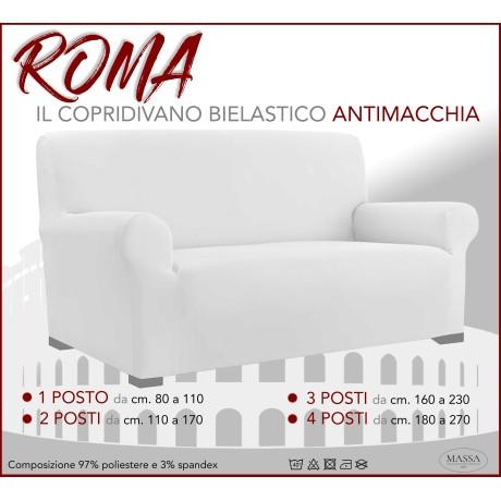 Housse de canapé universelle élastiquée et résistante aux taches ROMA Blanc
