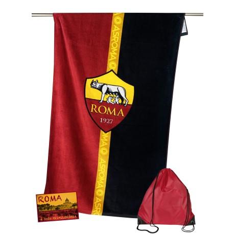 SERVIETTE DE PLAGE SPORTS ROME, TAILLE CM.70X140 ORIGINAL A. S. ROMA SAC à dos TEXFAMILY de l'APPORTER et de la carte postale