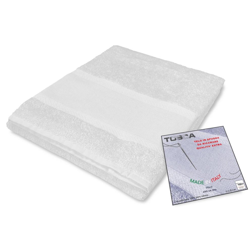Serviette de bain éponge TOSCA © AIDA tissu de BRODERIE point de CROIX cm. 100x125