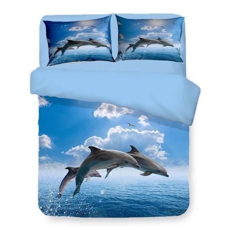 Housse de couette Sateen HD photo dauphins dans la mer