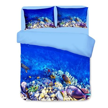 Housse de couette Sateen HD photo poissons tropicaux récif corallien