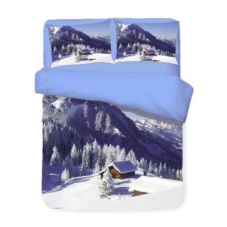 Housse de couette Sateen HD photo maison neige double cm. 250x200
