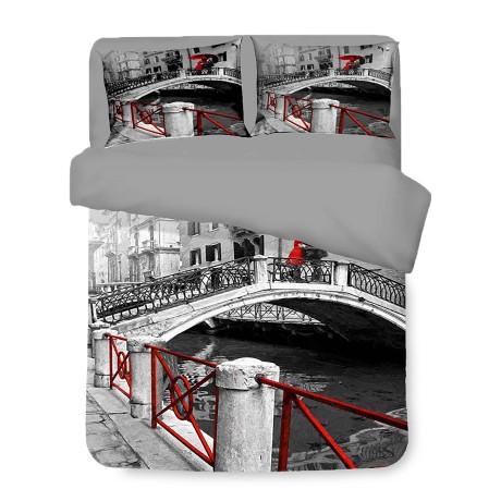 Housse de couette Sateen HD PHOTOGRAPHO VENISE pont amoureux avec double cm. 250x200