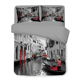 Housse de couette Sateen HD PHOTO VENISE Gondole Double cm. 250x200