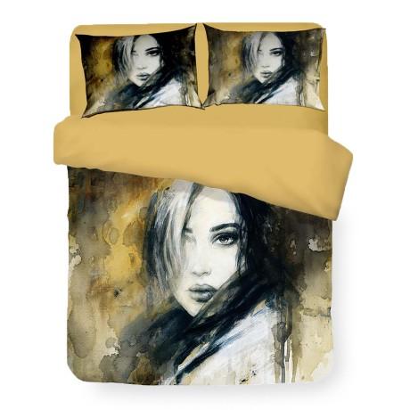 Housse de couette Sateen HD Photographique Peint Femme Isabel Double cm. 250x200 or
