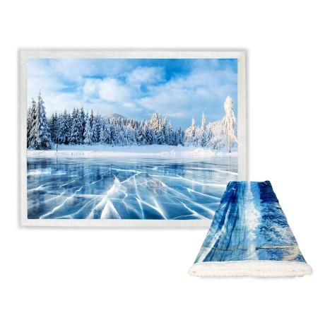 PLAID coperta IN PILE SHERPA fantasy HD LAGO ghiacciato