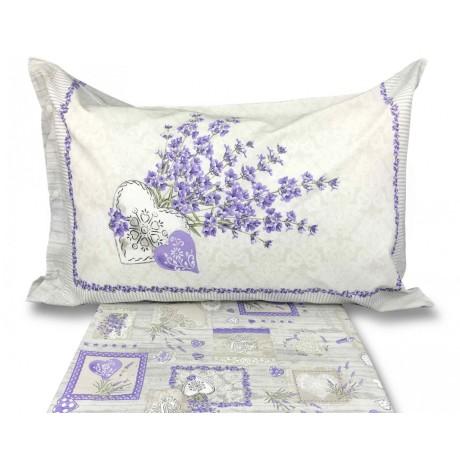 lenzuolo in cotone stampato con lavanda