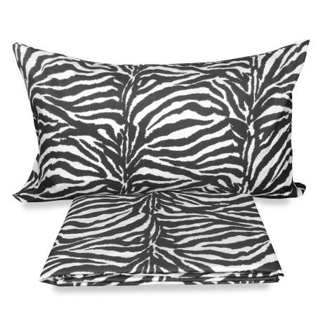 Zebra Housse de couette en flanelle avec coussin