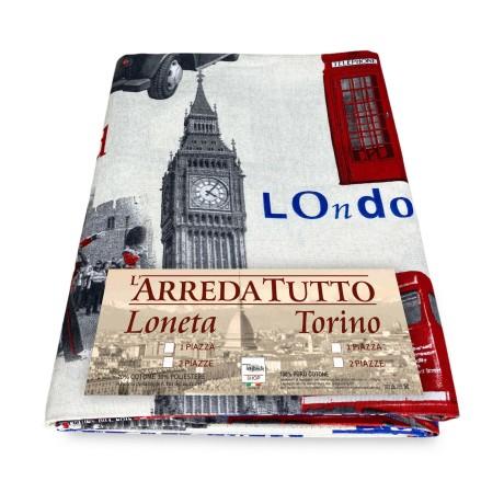 TELO ARREDO copritutto GRAN FOULARD COPRILETTO copridivano TESSUTO LONETA LONDRA new 20