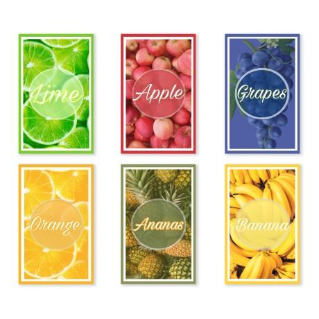 Lot de 6 torchons fruits en pur coton imprimé en taille haute définition MAXI