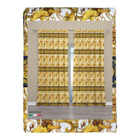Têtes de rideaux de luxe de lion cm.160x300 emballés MADE in ITALY mélange de lin