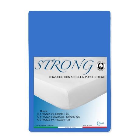 LENZUOLO con ANGOLI STRONG tinta unita BLUETTE made in Italy
