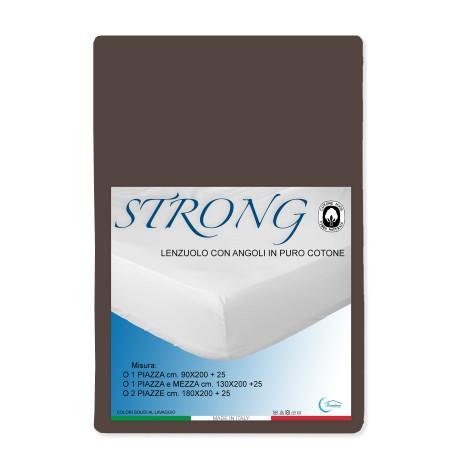 LENZUOLO con ANGOLI STRONG tinta unita MARRONE made in Italy