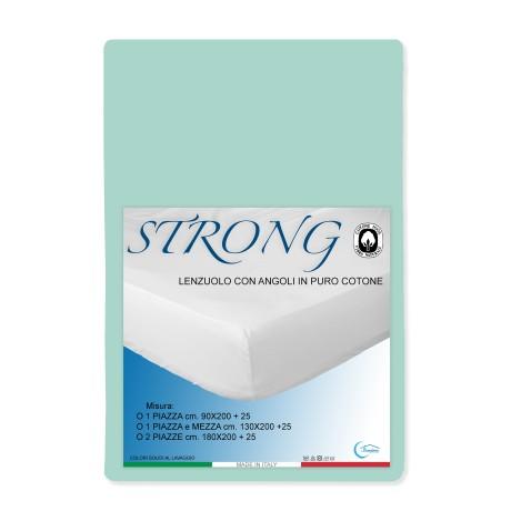 LENZUOLO con ANGOLI STRONG tinta unita VERDINO made in Italy