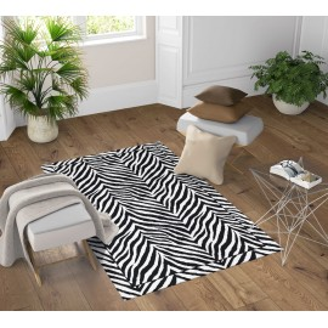 TAPPETO FANTASY HD moderno camera e salotto ZEBRATO bianco e nero