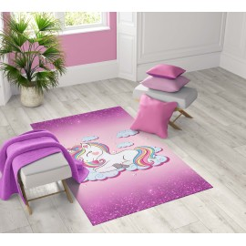 TAPPETO FANTASY HD moderno camera e salotto UNICORNO ROSA bambina femmina