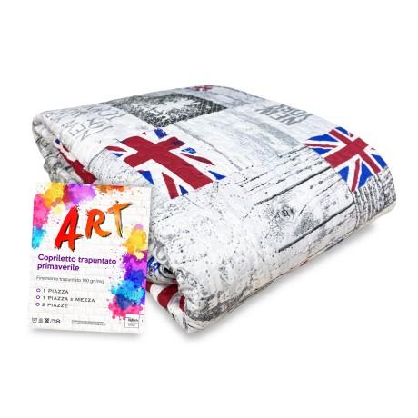 COPRILETTO trapuntato ART LONDON NEW YORK bandiere