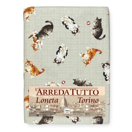 tissu avec chats beiges