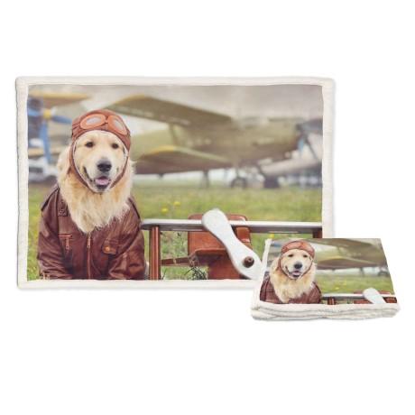 plaid stampato con cane