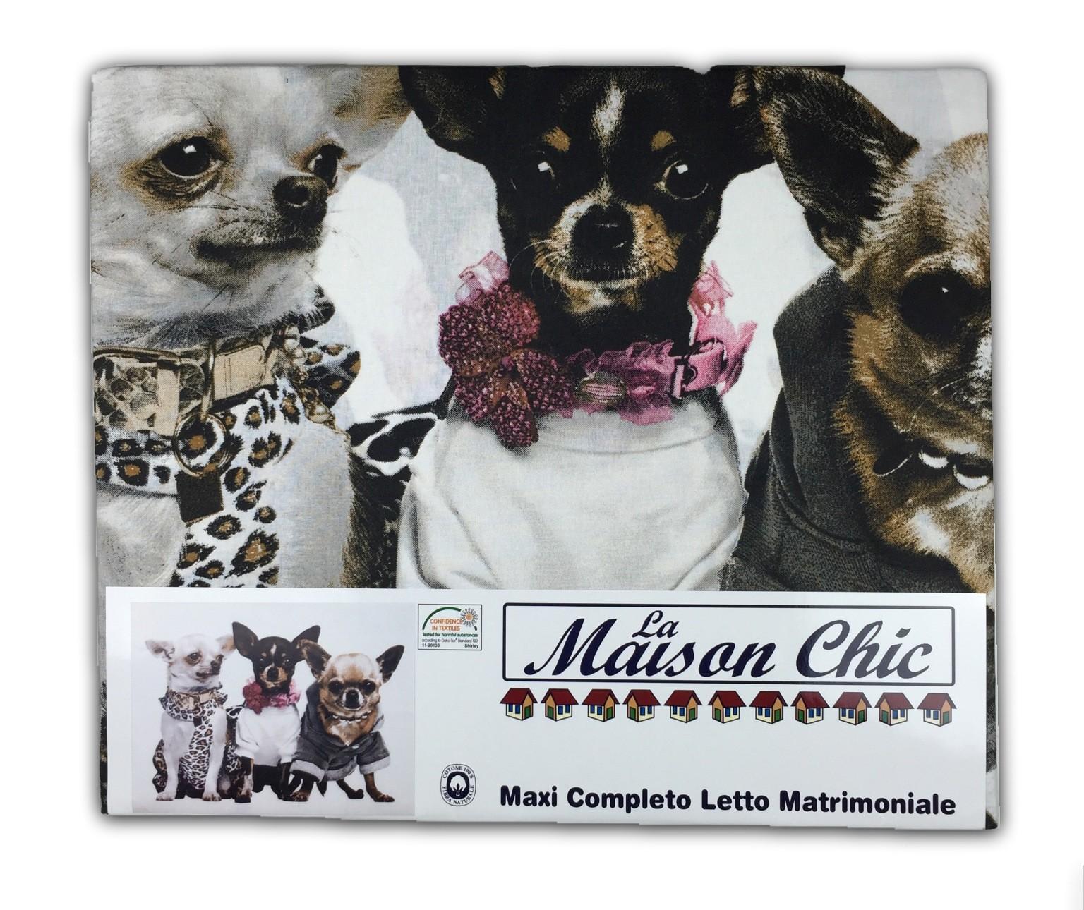 Lenzuola Matrimoniali Con Cani.Completo Lenzuola In Puro Cotone