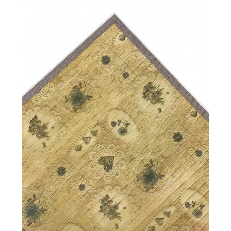 Tappeto cucina in legno bamboo shabby bouquet beige texfamily - Tappeto cucina bamboo ...