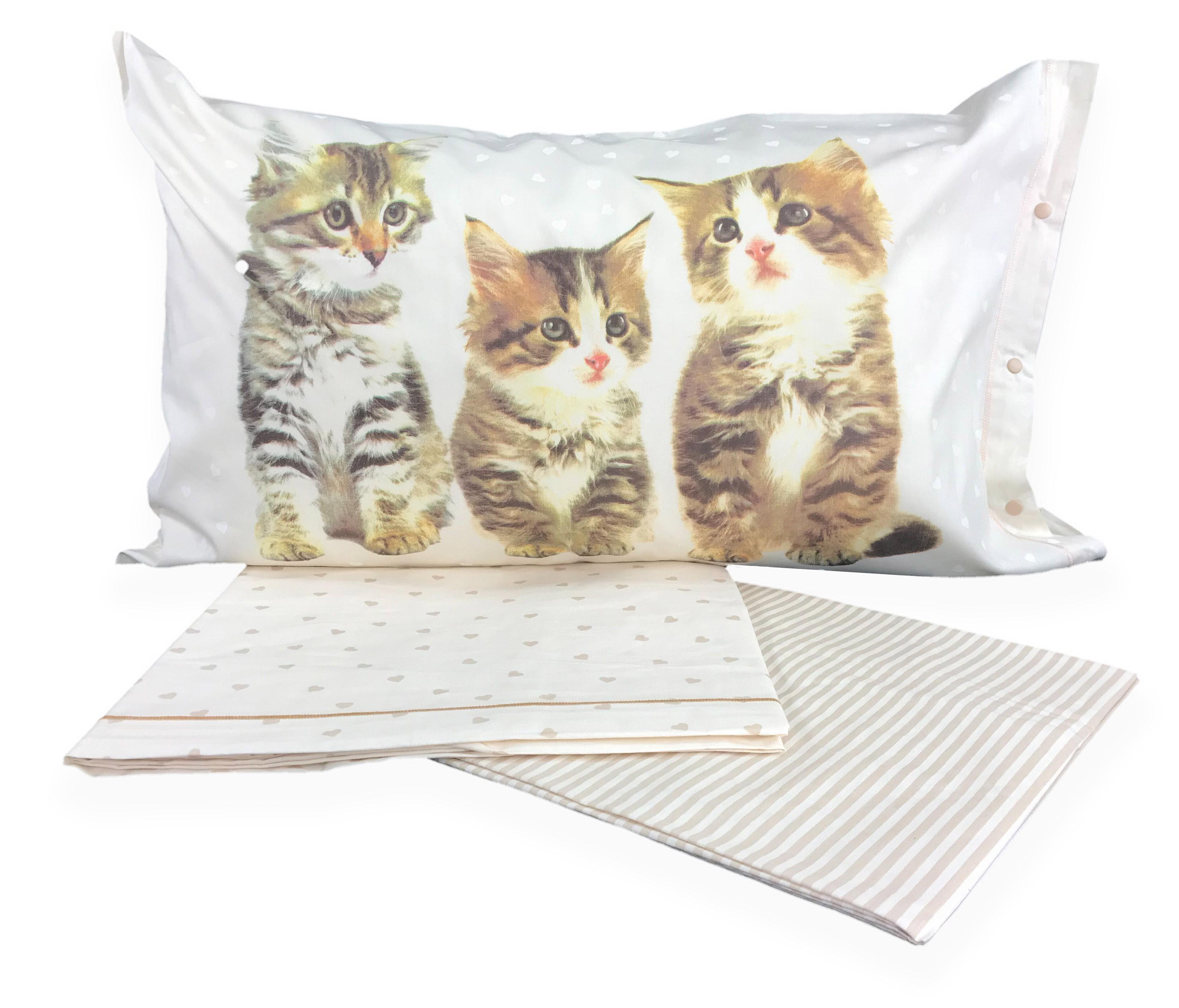 Lenzuola Matrimoniali Con Gatti.Completo Letto Stampato Con Teneri Cuccioli Di Gatto