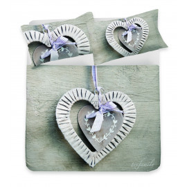 COMPLETO LENZUOLO DIGITALE CUORE SWEET SHABBY PER LETTO MATRIMONIALE 2 PIAZZE YUMSWTT