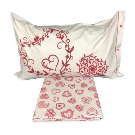 Housse de couette TYROL Miros coeur rouge taie d'oreiller décor
