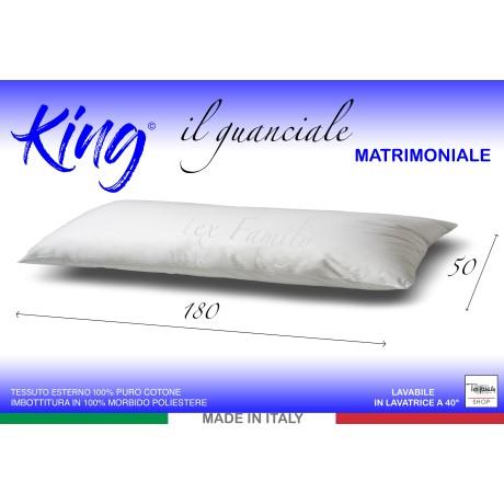 GUANCIALE KING CUSCINO LETTO MATRIMONIALE LUNGO cm. 180 MIS. CM. 50 X 180