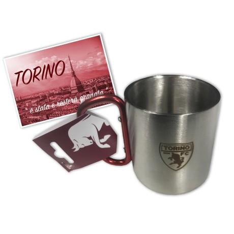 COUPE OFFICIEL TORINO FOOTBALL EN ACIER inoxydable AVEC MOUSQUETON et une carte postale de TURIN EST