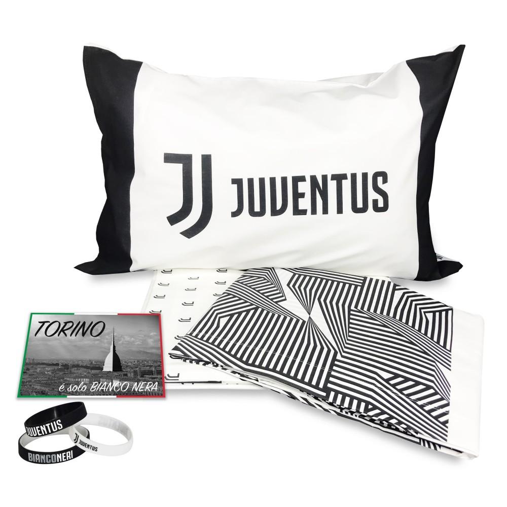 Completo Lenzuola In Puro Cotone E Braccialetto Originale Juventus
