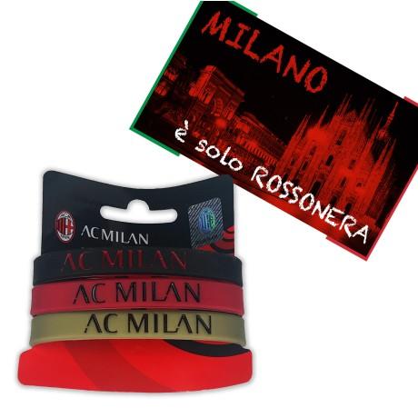 ENSEMBLE de 3 BRACELETS LOGO OFFICIEL A. C. MILAN et MILAN EST la carte postale