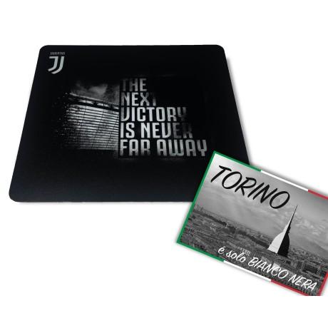 TAPPETINO MOUSE MOUSEPAD JUVENTUS cm. 20X23 THE NEXT VICTORY JUVENTUS e cartolina TORINO È