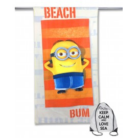 TELO MARE IN SPUGNA MINION BEACH BUM cm. 70x140 con zaino Spiaggia KEEP CALM