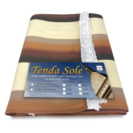 TENDA SOLE DA ESTERNO GIARDINO BALCONE MESSICO MARRONE confezionata  LARGA 2 METRI