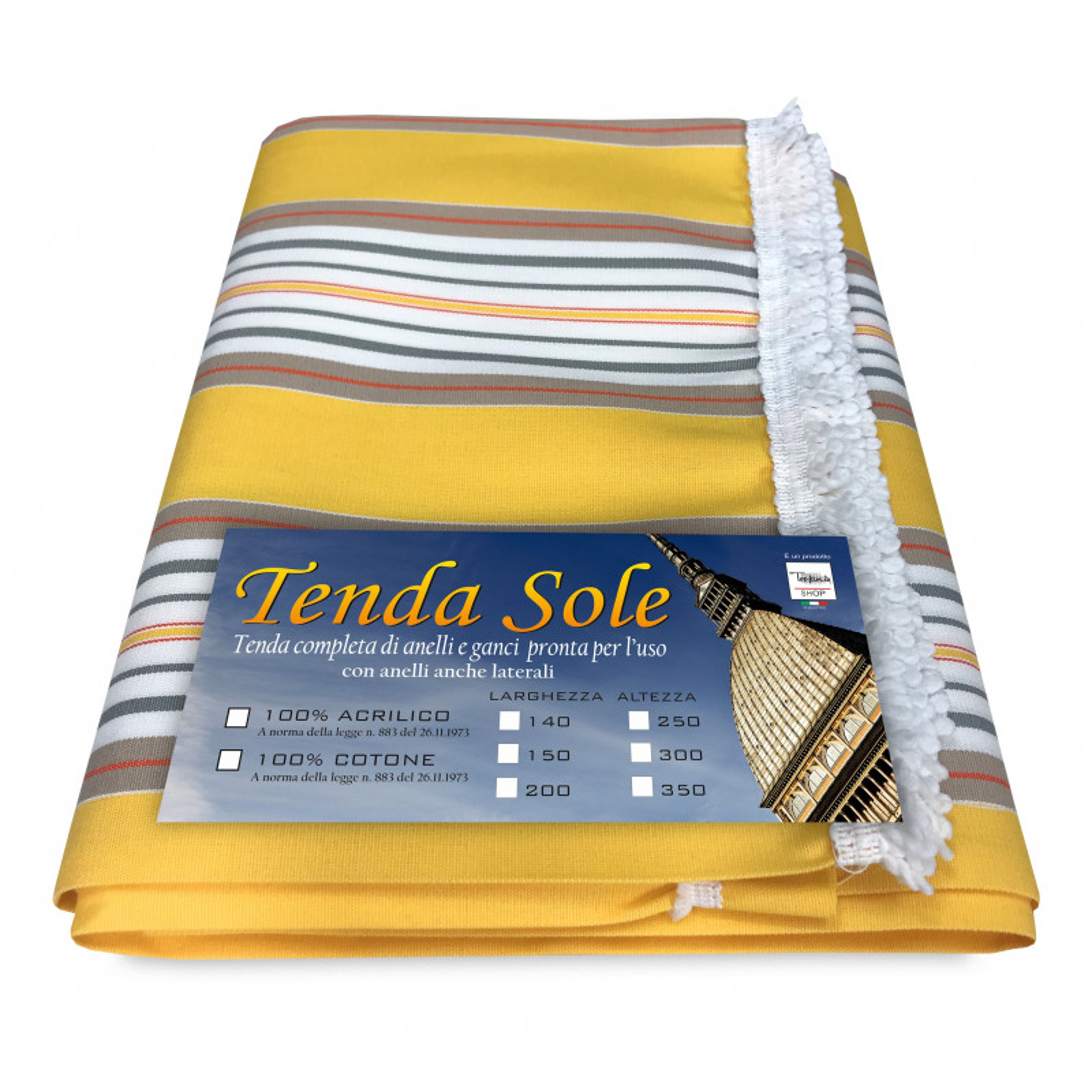 TENDA SOLE DA ESTERNO GIARDINO BALCONE RIGHINO GIALLO CONFEZIONATA