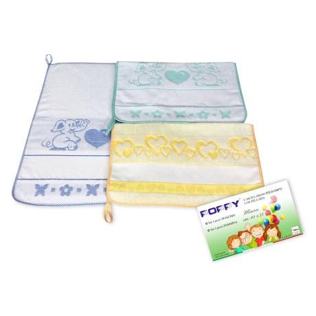 Lot de 3 SERVIETTES de bébé à la MATERNELLE de PAVOT © cm. 40x55 le coton pur MÂLE avec de la toile AÏDA à broder