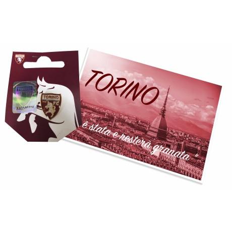 INSIGNE MÉTAL BROCHE TORINO football club F. C. et de la carte postale de TURIN EST