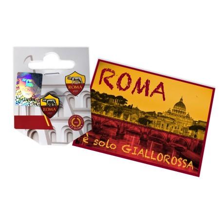 DISTINTIVO SPILLA IN METALLO  AS ROMA e cartolina ROMA È