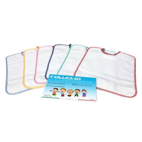 SET 6 BAVAGLINI BAVETTE bambino POLLICINO © cm. 28 x 33 bavaglio con elastico puro cotone con tela AIDA per ricamare il nome