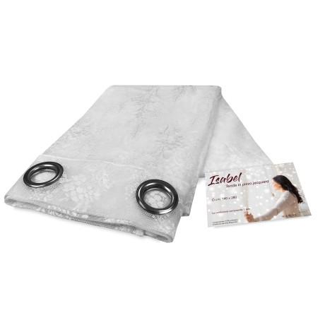 TENDA tendaggio ISABEL bianco cm. 140X280 CONFEZIONATA in PIZZO jacquard